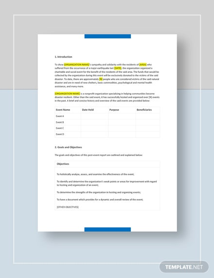 Post Event Report Template : Download 336+ Reports in Microsoft Word