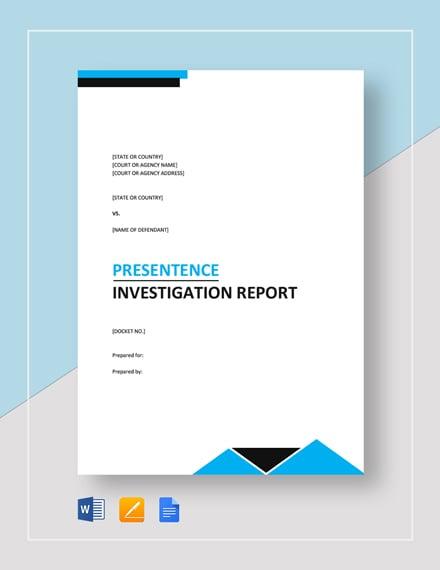 Presentence Investigation Report Template