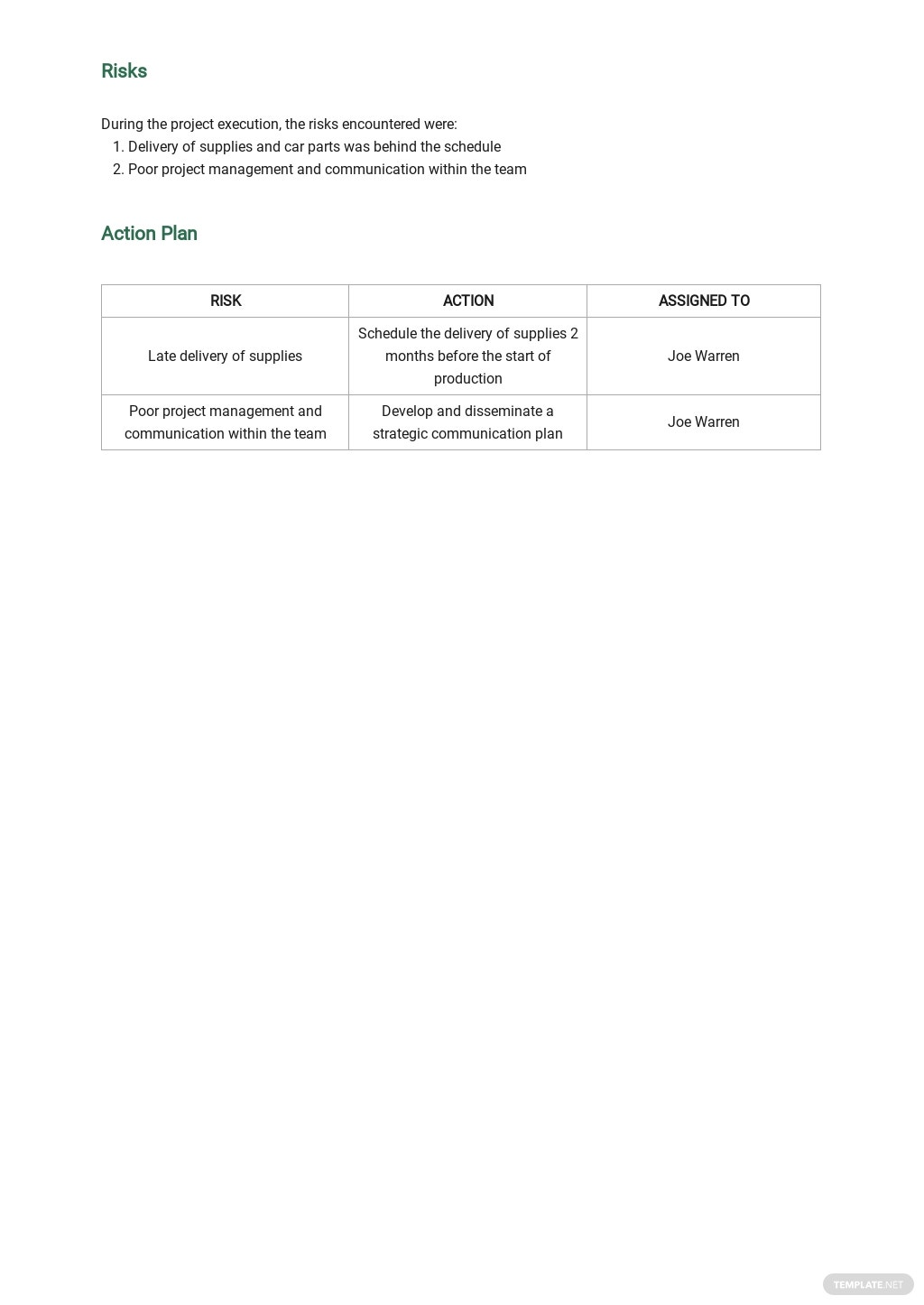 Project Management Weekly Status Report Template 2.jpe