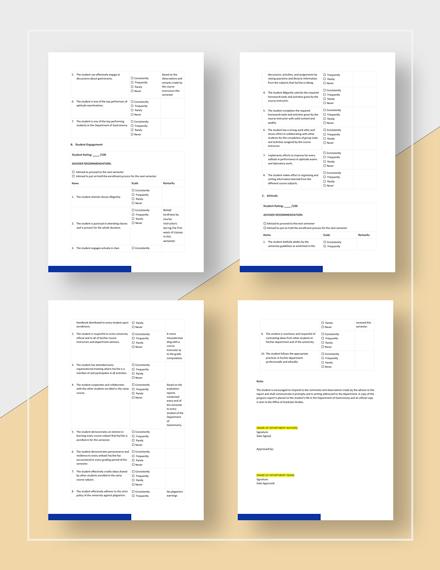 Simple Student Progress Report