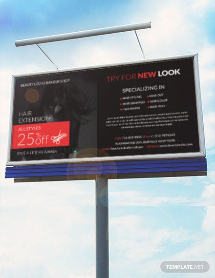 Free Barbershop Billboard Banner Template