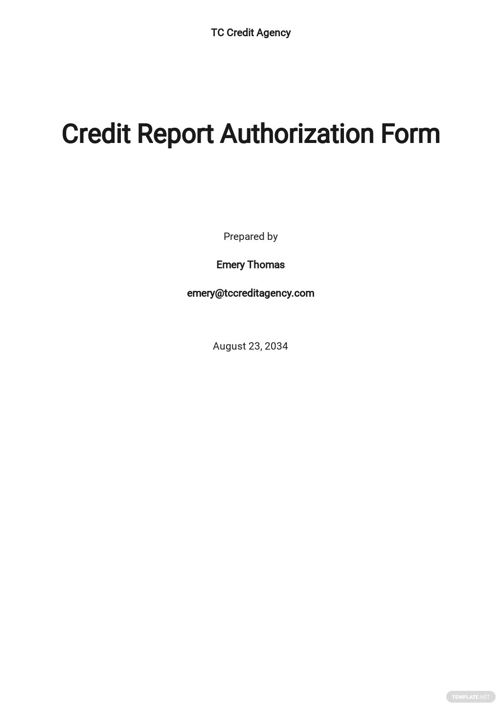 Credit Report Authorization Form Template