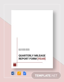 Mileage Report Form Template