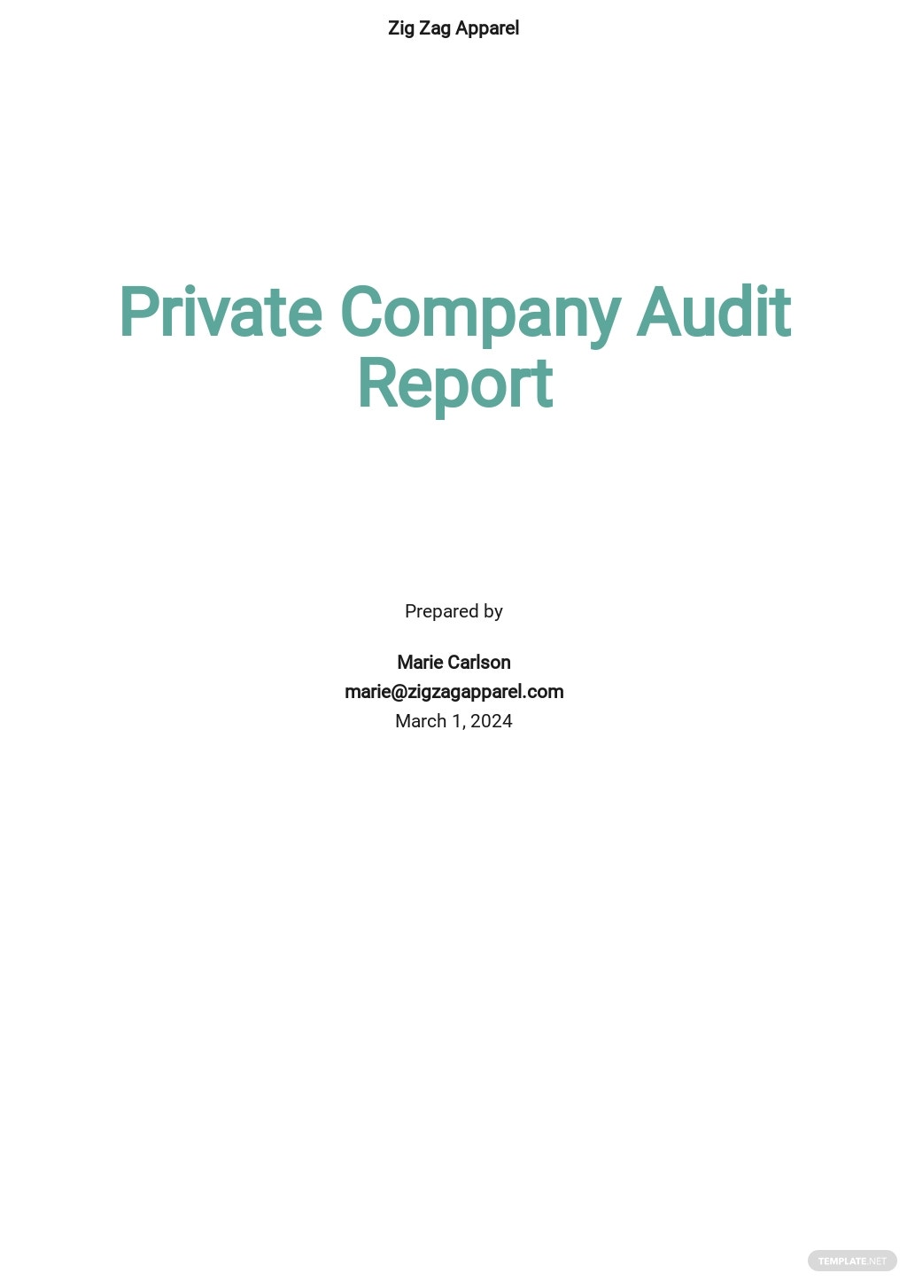 Private Company Audit Report Sample Template .jpe
