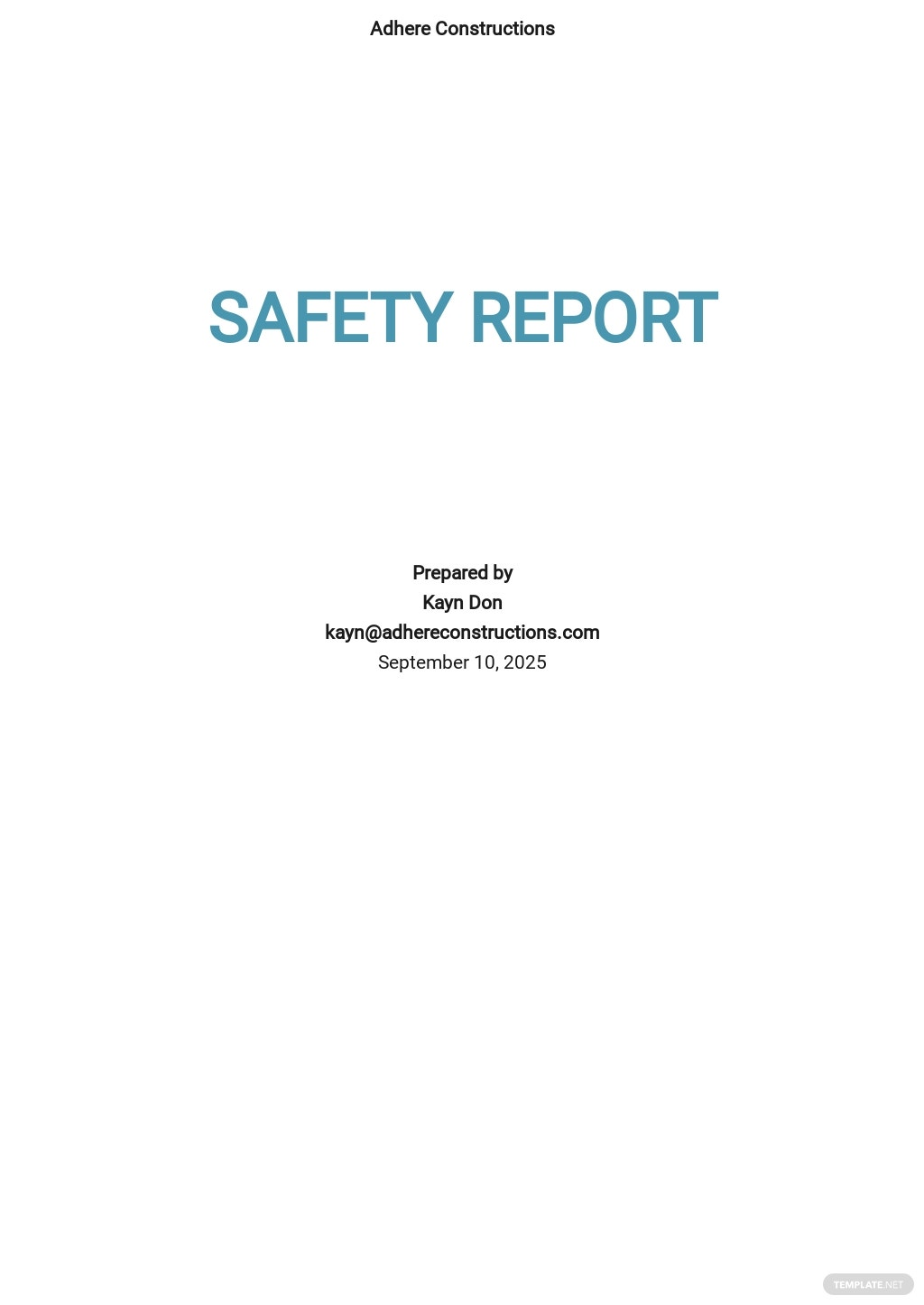 Safety Report Form Template