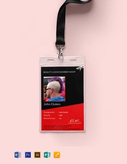 Free Barbershop Identity Card Template