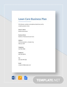 Lawn Care Business Plan Template