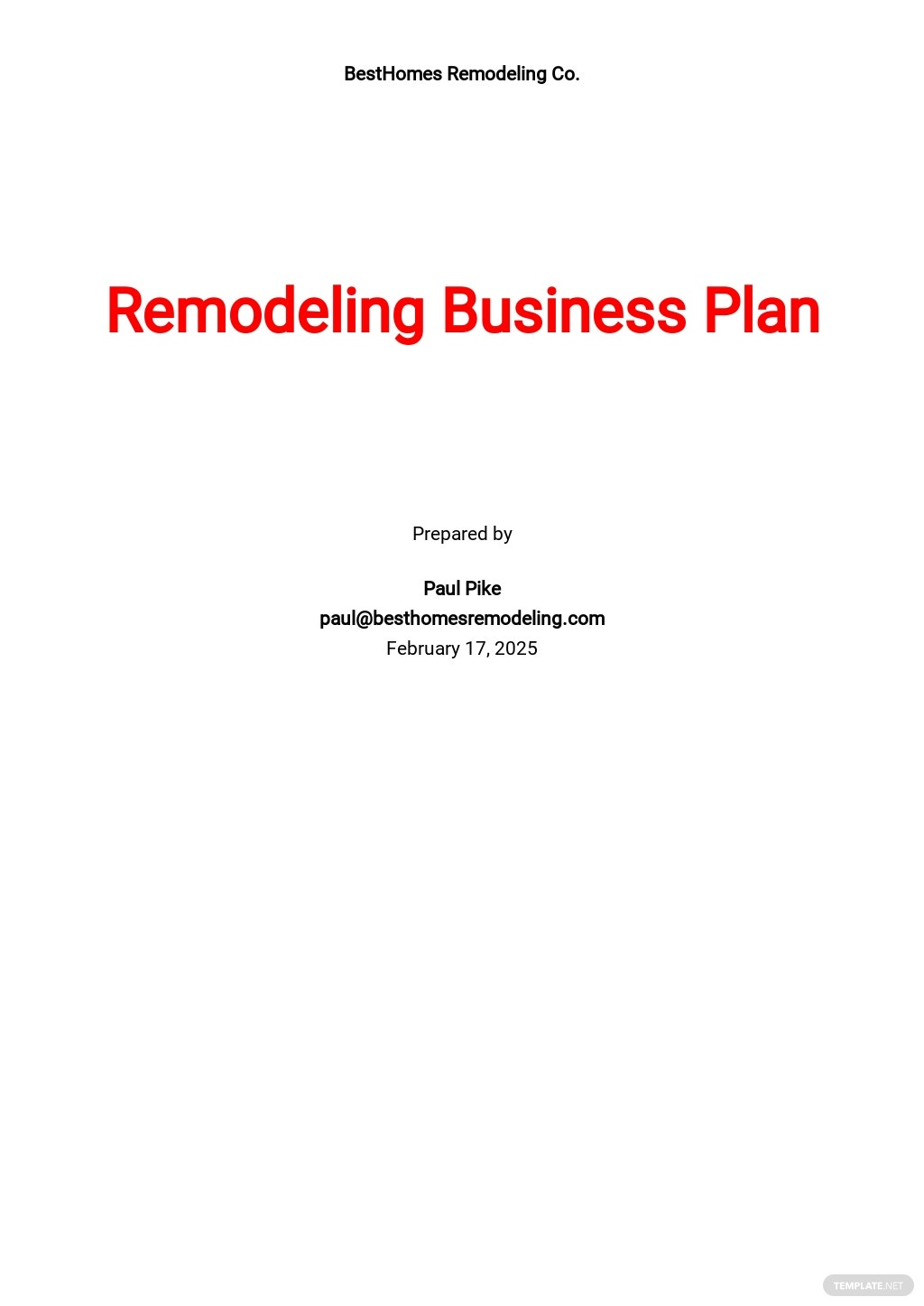 Remodeling Business Plan Template