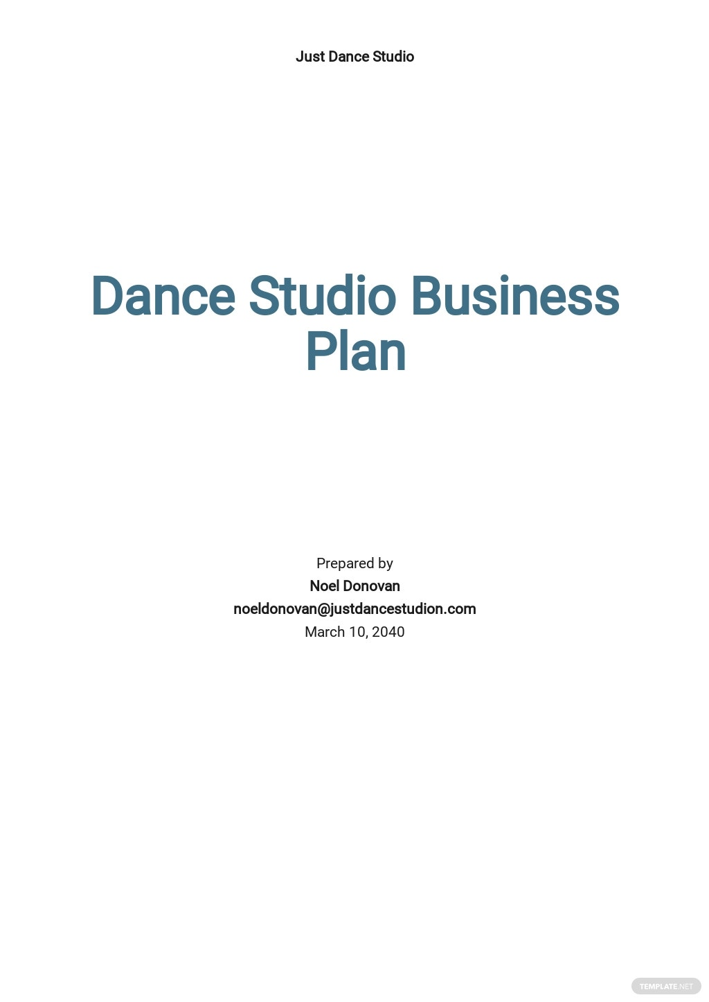 Dance Studio Business Plan Template