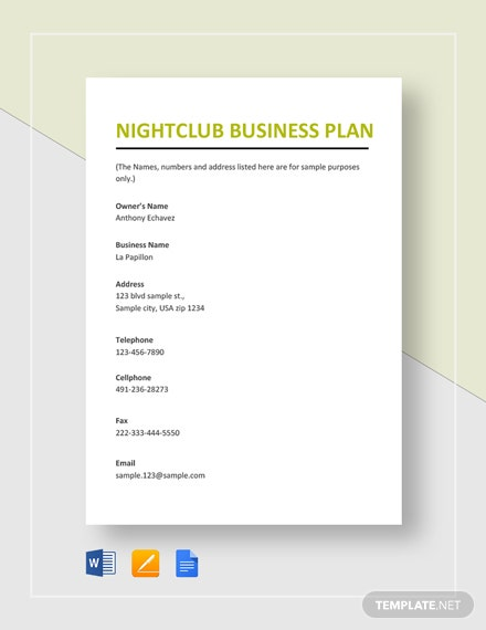 Nightclub Business Plan Template