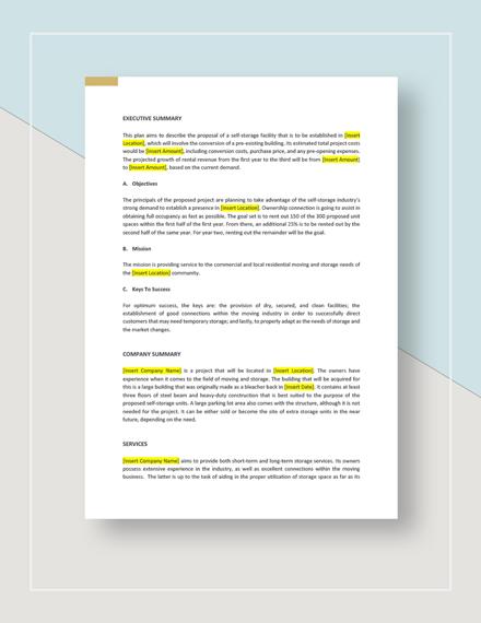 Self Storage Business Plan Template Word Google Docs