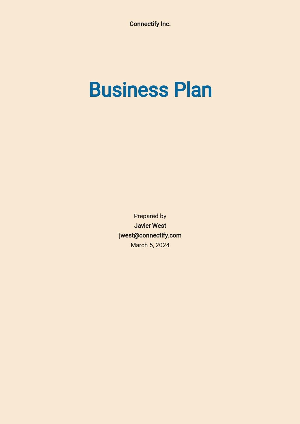 Social Media Business Plan Template