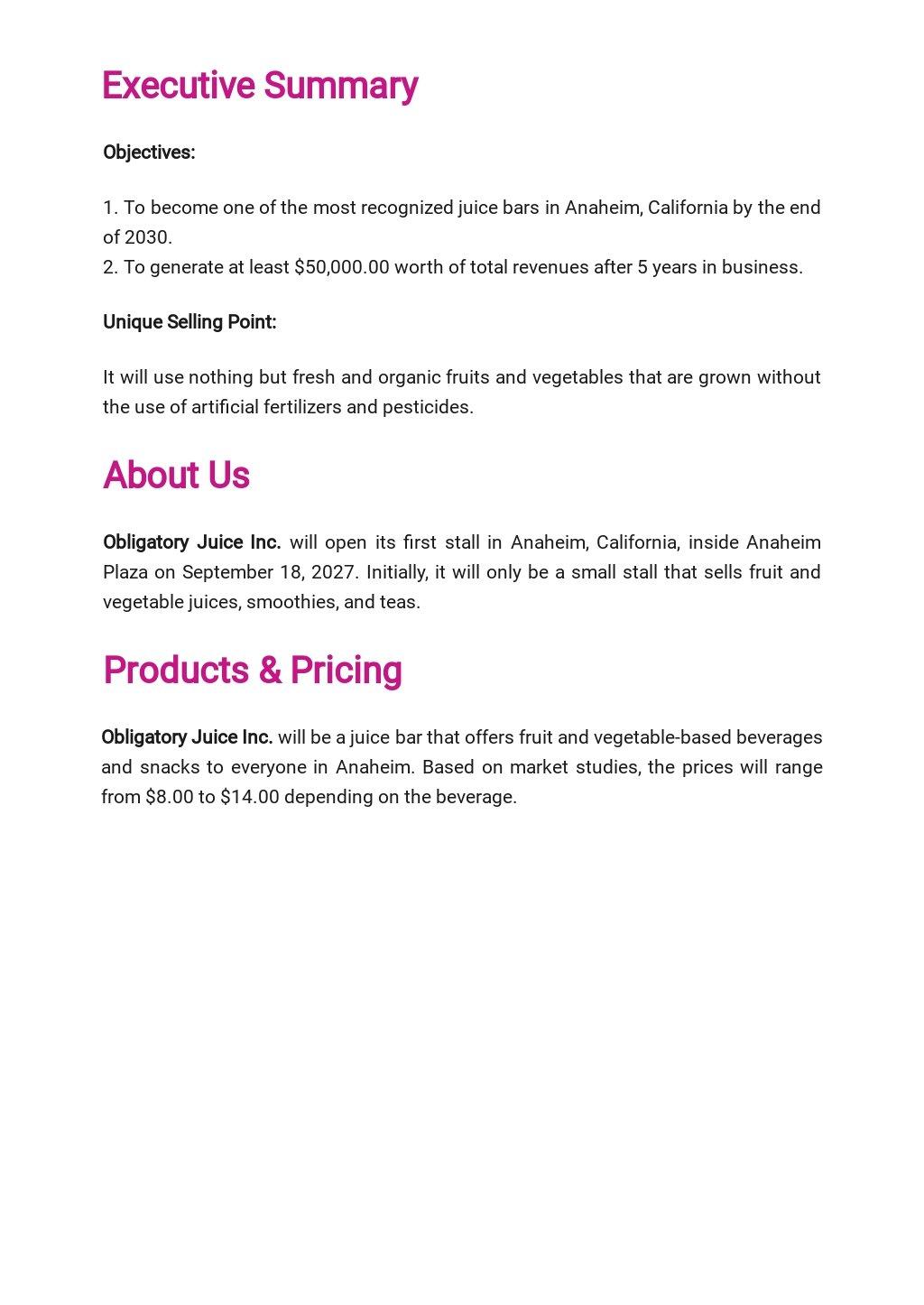Juice Bar Business Plan Template  1.jpe