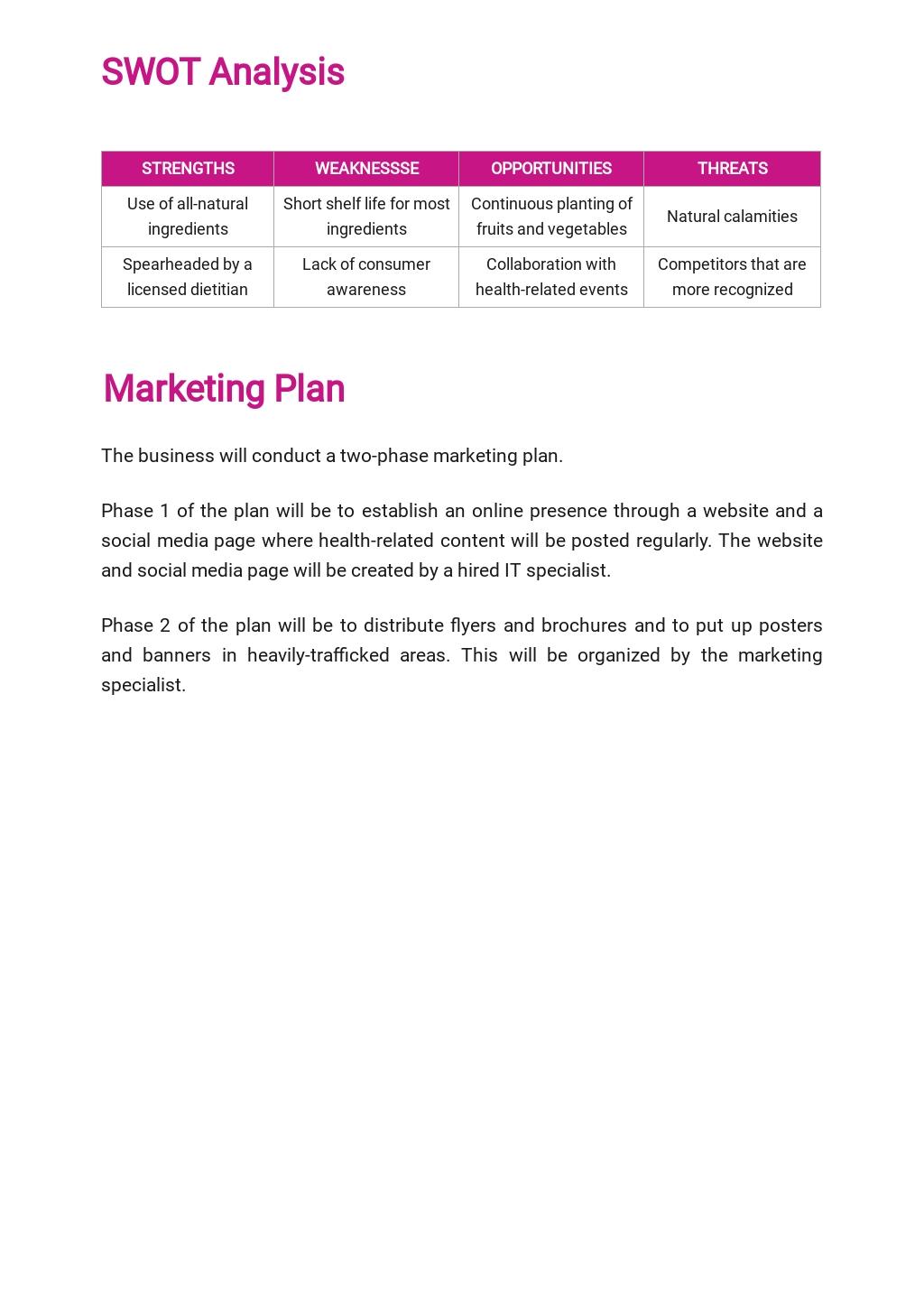 Juice Bar Business Plan Template  3.jpe
