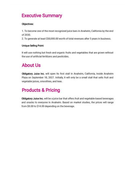 Juice Bar Business Plan Template