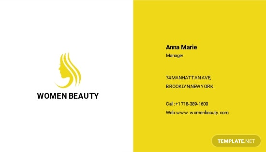 Beauty Parlor Business Card Template