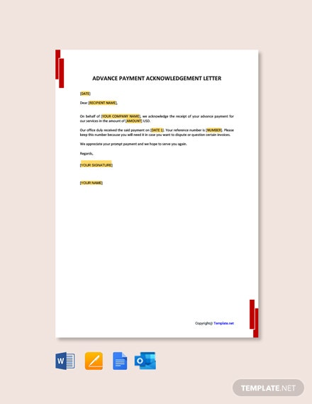 Free Advance Payment Acknowledgment Letter