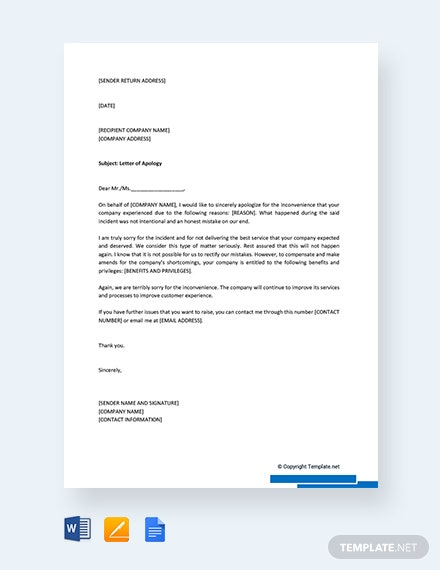 Free Apology Letter for Mistake to Company