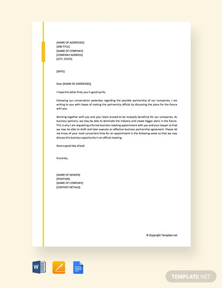 Free Appointment Request Letter for Business Meeting