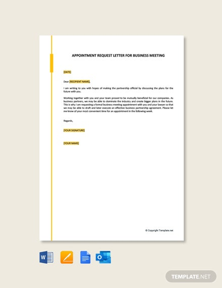 Appointment Request Letter for Business Meeting Template