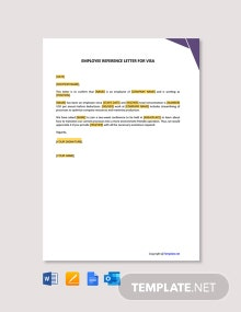 Free Employee Reference Letter for Visa