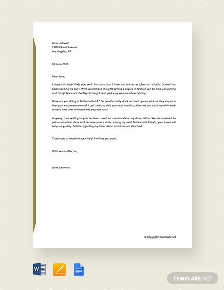 Free Informal Letter To A Friend Template Download 1440 Letters In