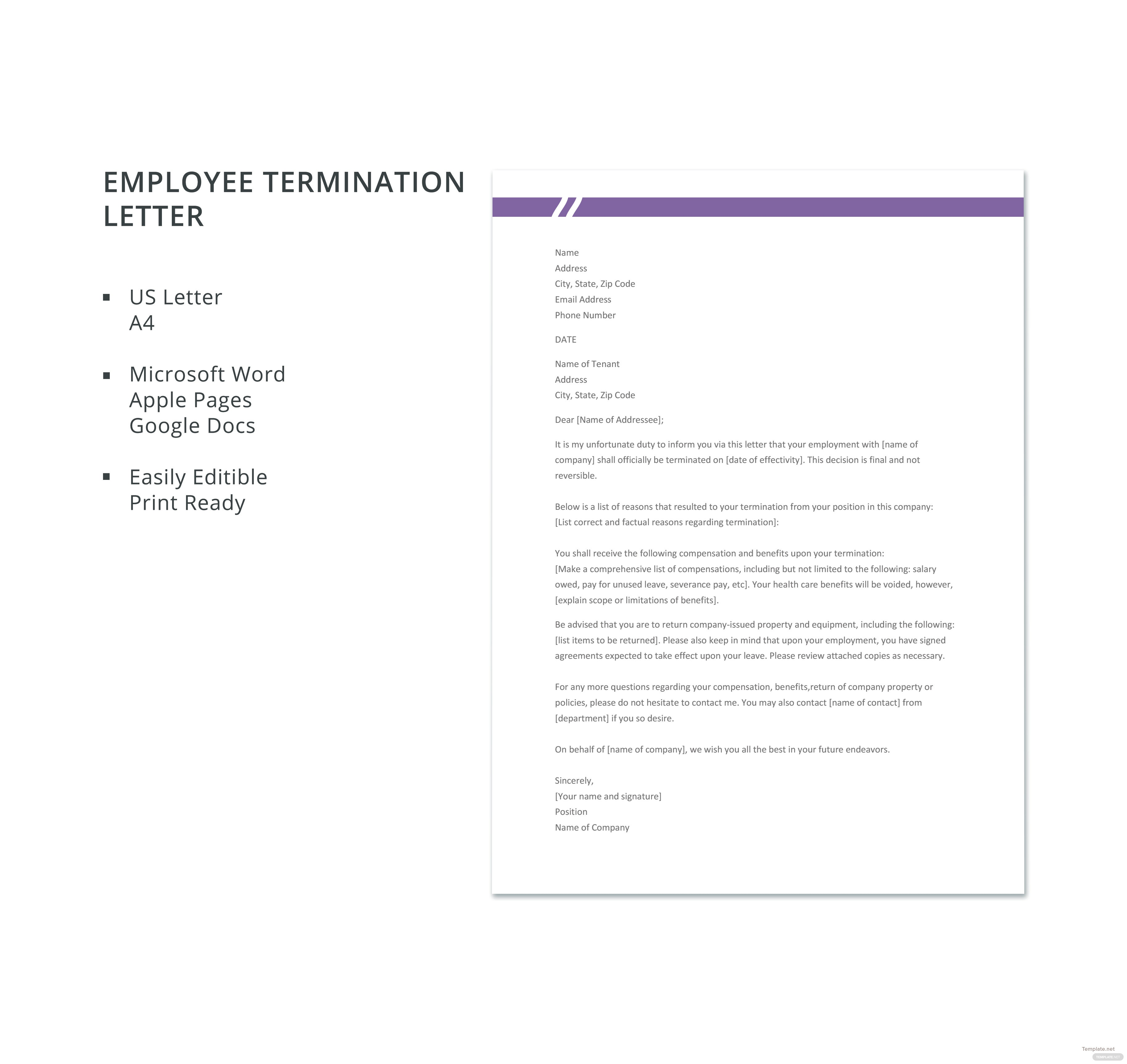 Free employee termination letter template in microsoft word apple free employee termination letter template thecheapjerseys Gallery