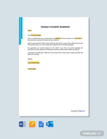 Friendly Payment Reminder Letter Template
