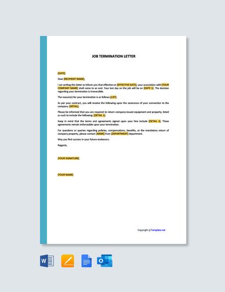 Job Termination Letter Template
