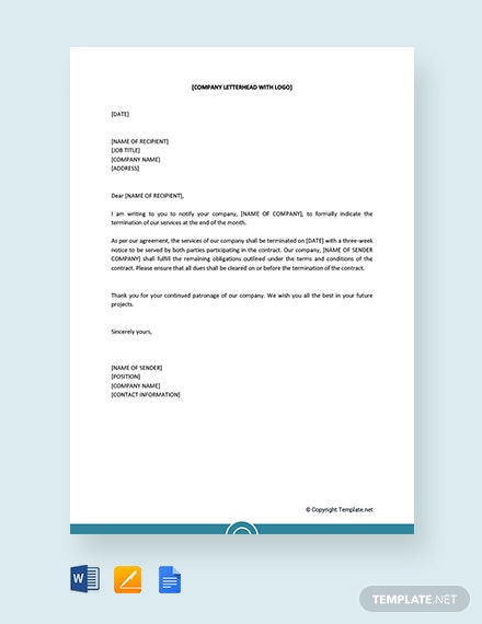 Free Service Termination Letter To Customer
