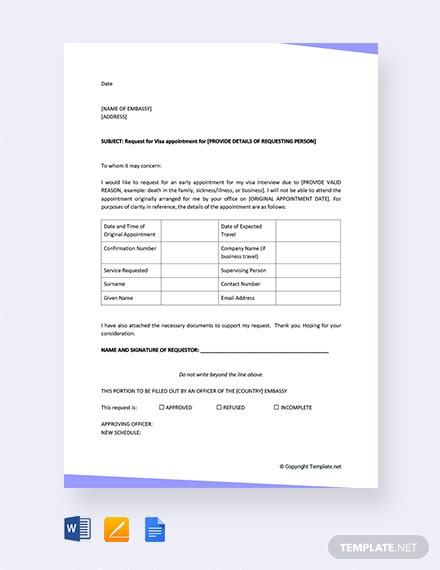 Visa-Appointment-Request-Letter Sample Application Letter For Employment Word on