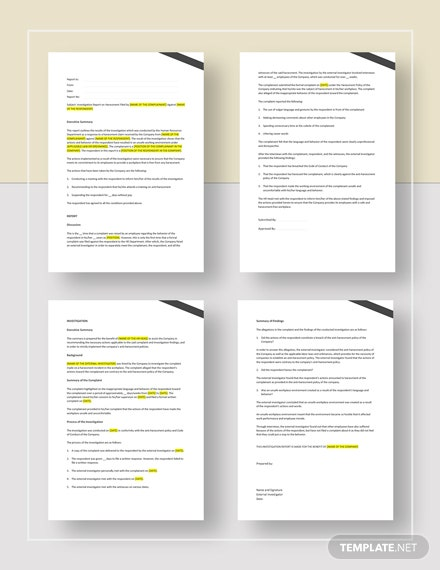 Investigation Report Template