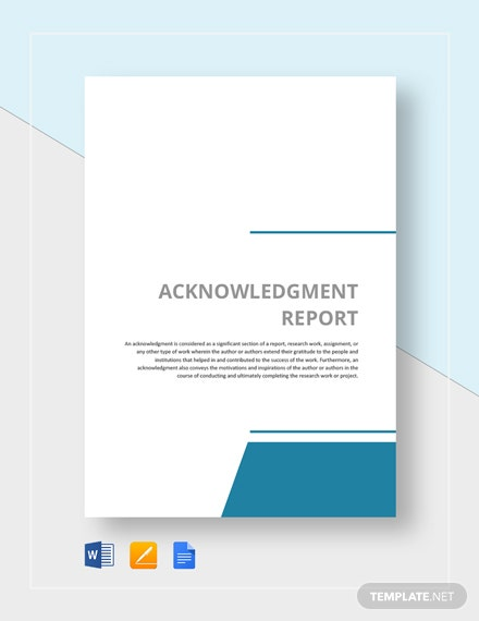 Acknowledgment Report Sample Template