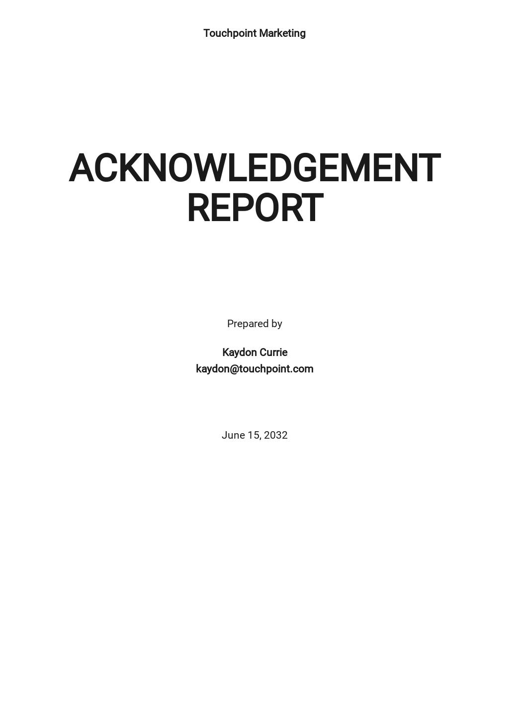 Acknowledgment Report Sample Template