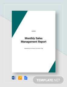 Monthly Sales Management Report Template