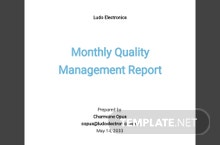 Monthly Quality Management Report Template