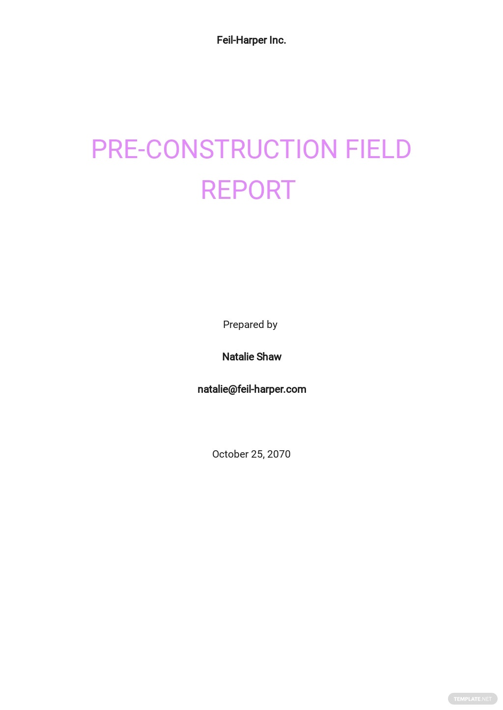 Field Report Template