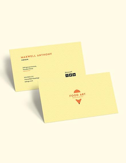 Sample Creative Restaurant Business Card