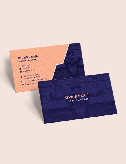 Sample Gym Business Card