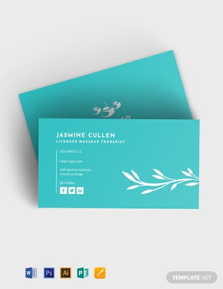 Licensed Massage Therapist Business Card Template Download 175