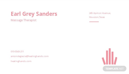 Massage Therapist Business Card Template [Free JPG] - Illustrator, Word, Apple Pages, PSD, Publisher