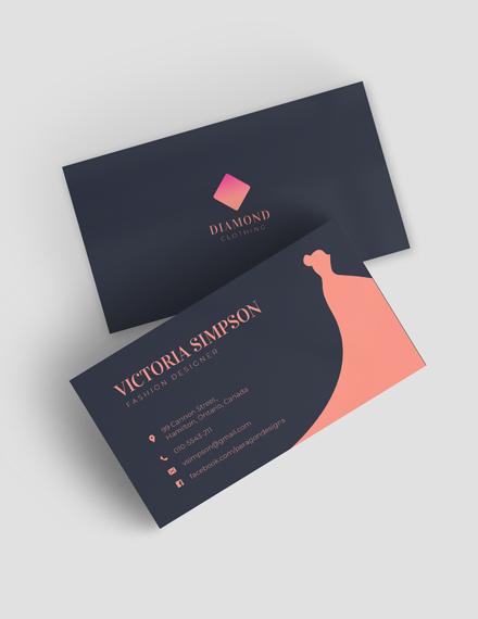 Simple Fashion Designer Business Card Template