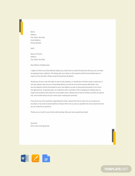 free lease termination letter template landlord to tenant download