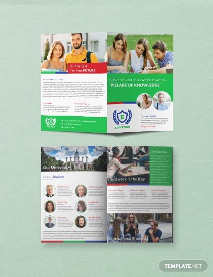Free Education A3 Bi-Fold Brochure Template
