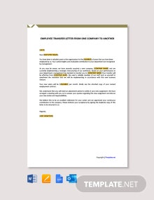 Free Employee Transfer Letter From One Company to Another