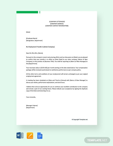 Free Employee Transfer Letter Inter Company