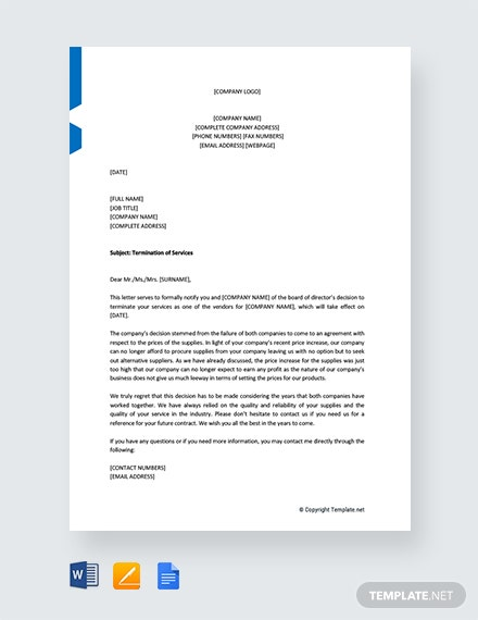 Free Service Termination Letter to Vendor