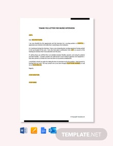 Free Thank You Letter for Nurse Interview