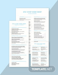 Simple Food and Drinks Menu Template