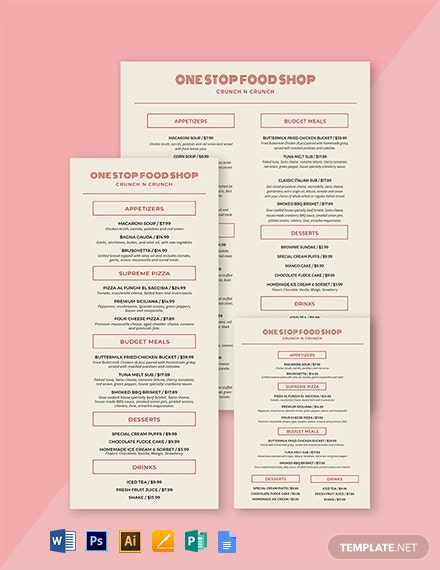 Vintage Food and Drinks Menu Template